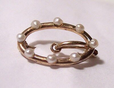 antique victorian art nouveau marked 14k yellow gold pearl buckle collar pin