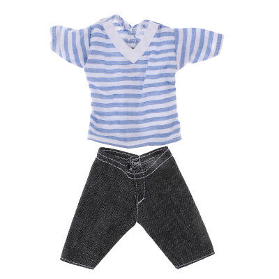 Clothes For Barbie's boy friend Ken Doll Dress Up Striped Shirt Jeans Pants
