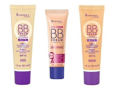 Rimmel BB Cream 9 in 1 Skin Perfecting Make Up 30ml SPF15 Sealed -Choose shade-