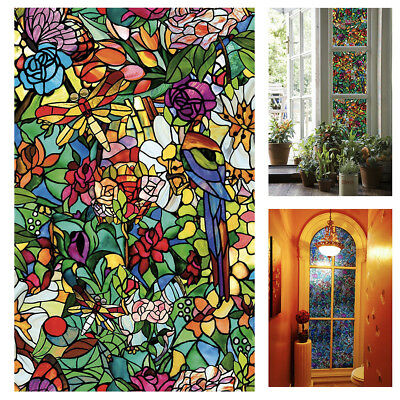 Privacy Stained Glass Window Peel Stick Windows Doors Birds Flowers Cling Film