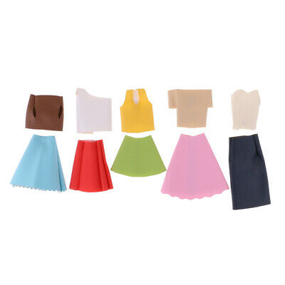 10Pcs Handmade Clothes Dress for Doll Outfits Tops Skirt Costume Accs