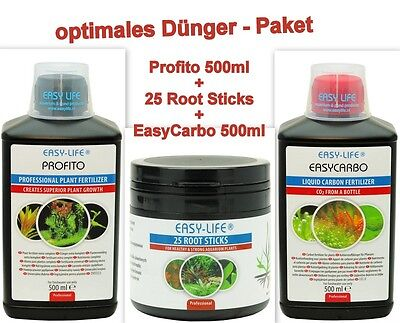 Dünger Sparpaket Easy Life Pro Fito 500ml, Easy Carbo 500ml, 25 Root Sticks