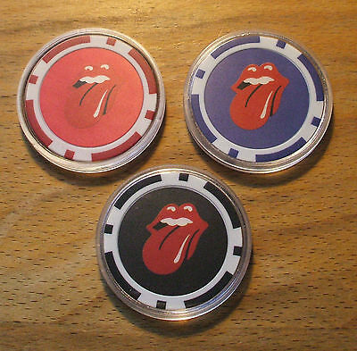 3 Rolling Stones Poker Chips - Sample Set-Casino Quality - Card Guard Cover Set