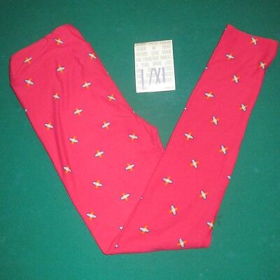 NEW IN PACK Lularoe Kids L/XL Leggings PINK with Teal Orange X's Designs