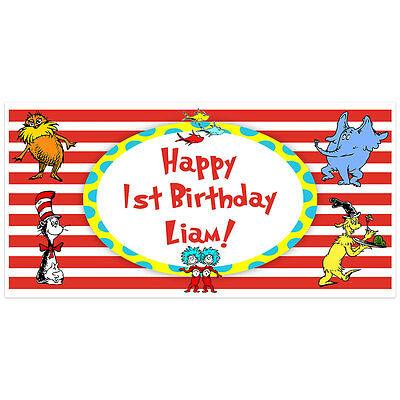Dr. Seuss Cat in the Hat Birthday Banner Personalized Party Backdrop