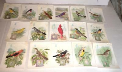 (16)  1927 vintage Singer Sewing victorian SONG BIRD Trade CARDS  antique paper