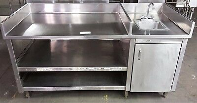 6' Stainless Steel Work Area Station with Small Sink and Shelves