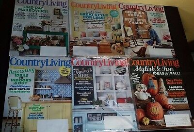 Lot of 8 Country Living Issues from 2015 to 2016