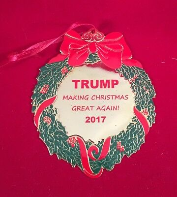 "DONALD TRUMP CHRISTMAS ORNAMENT "" MAKE CHRISTMAS GREAT AGAIN "" Gift USA MADE"