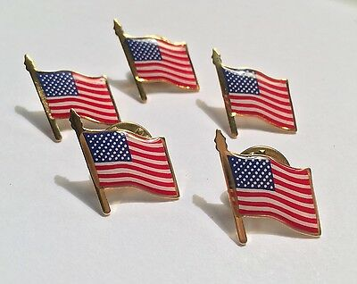 5 AMERICAN FLAG LAPEL PIN *MADE IN USA* Hat Tie Tack Badge Pinback Vest