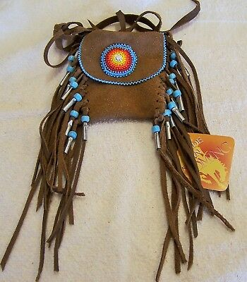 Hand Made Beaded Neck Pouch Rendezvous Black Powder Mountain Man 51