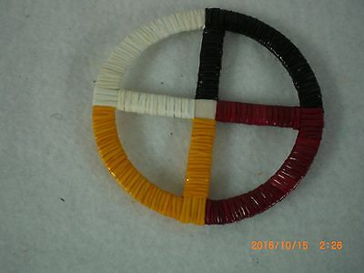 "Quilled Lakota Four Directions 2""  Medicine Wheel"