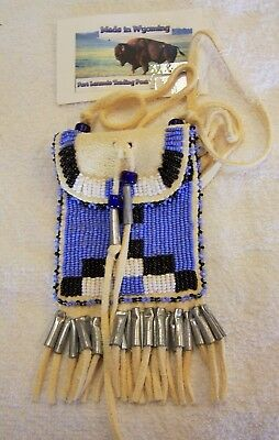 Hand Made Small  Beaded Neck Pouch Rendezvous Black Powder Mountain Man 54