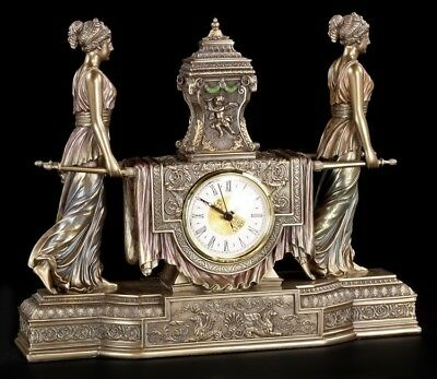 Baroque Mantel Clock Women with Litter - Table Clock, Veronese ANTIQUE LOOK