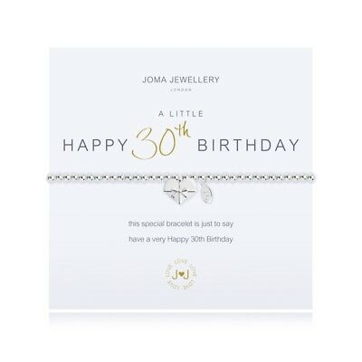 A Little Happy 30th Birthday Bracelet - Silver Plated Joma Jewellery & Gift Bag