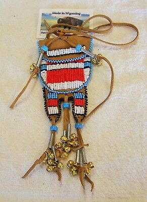 Hand Made Small  Beaded Neck Pouch Rendezvous Black Powder Mountain Man 58