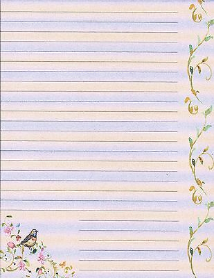 495551bb7344 Bird   Flowers Lined Stationery Writing Paper Set