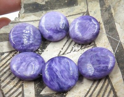 6 GORGEOUS AAAAA RUSSIAN PURPLE CHAROITE BEAD FLAT OVAL 16.2mm+