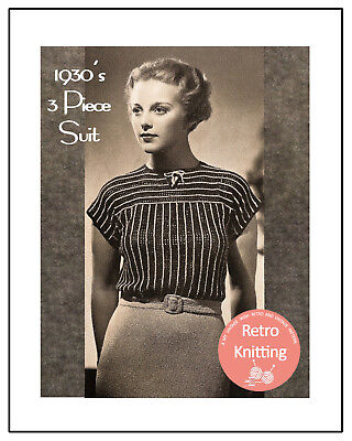 Lady's 1930's Jacket, Blouse and Skirt Vintage Knitting Pattern