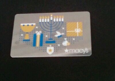 Macy's Hanukkah Gift Card,  Menorah, Shiny,  2017,Collectible, Mint