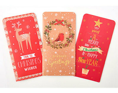 Pack Of 6 Contemporary Christmas Xmas Money Wallets Cards