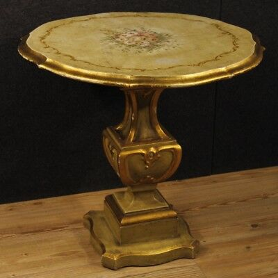 Side table lacquered furniture Italian living room golden wood antique style