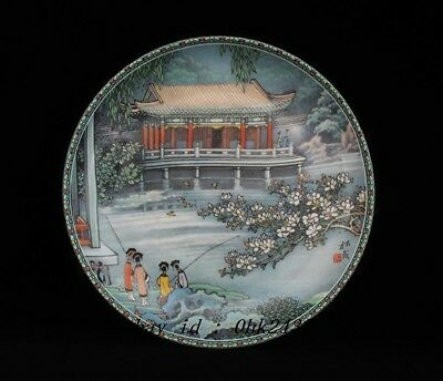 China antique Porcelain Hand painting Summer Palace Fishing plate