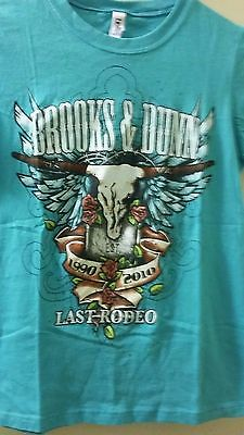 New Women's T-Shirt Brooks & Dunn Last Rodeo 1990-2010 Size X-S 100% Cotton Teal