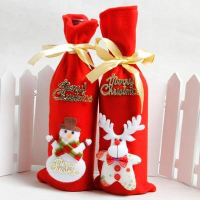Merry Christmas Wine Bottle Cover Gift Sack Bag Holiday Home Party Decorations