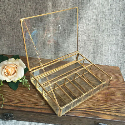 Geometric Glass Grids Jewelry Box Tabletop Succulent Plant Container Box Copper