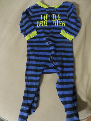 Infant boys little brother pajamas striped size 9 months