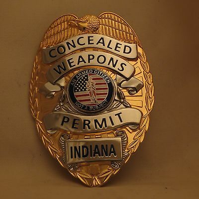 Concealed Weapons Permit Indiana badge Gold colored