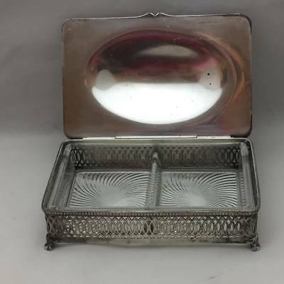 Antique Silverplate Covered Relish Dish with Glass Insert (2 sections)