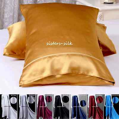 2pc 22MM 100% Pure Mulberry Silk Pillow Cases Face Beauty Side Pocket No Zipper