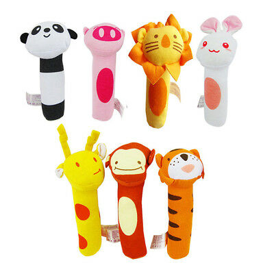 Soft Sound Animal Handbells Plush Squeeze Rattle For Newborn Baby Fantastic Toys