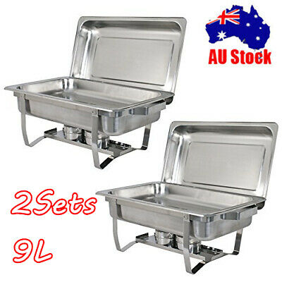 2Sets 9L Bain Marie Bow Chafing Dish Stainless Steel Food Warmer Stackable Set