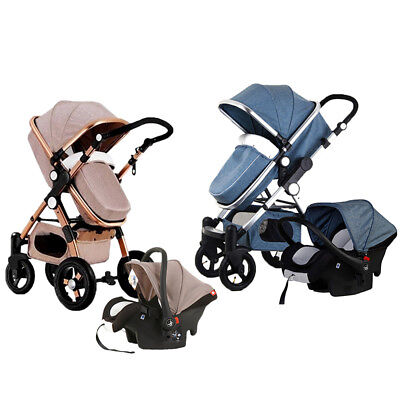 Luxury Baby Stroller 3 in1 High View Pram Foldable Pushchair Bassinet &·Car Seat