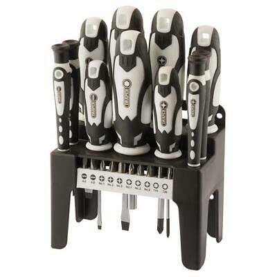 Draper 21 Piece Screwdriver & Bit Set With Storage Stand White 29896