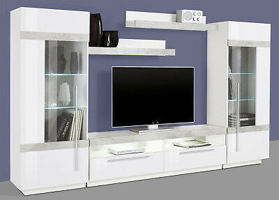 wohnwand anbauwand mediawand schrankwand wei wei. Black Bedroom Furniture Sets. Home Design Ideas