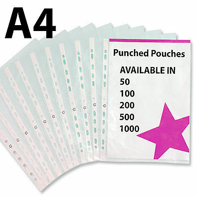 A4 Clear SUPER QUALITY Plastic Punched Pockets Filing Document Wallets Sleeves