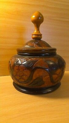 Large Asian wooden marquetry bowl and cover.