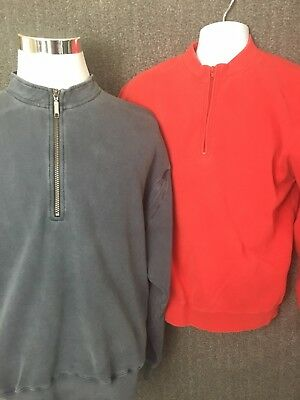 Orvis Men's Pullover Half Zipper Heavy Long Sleeve Lot of 2 Red and Blue Large