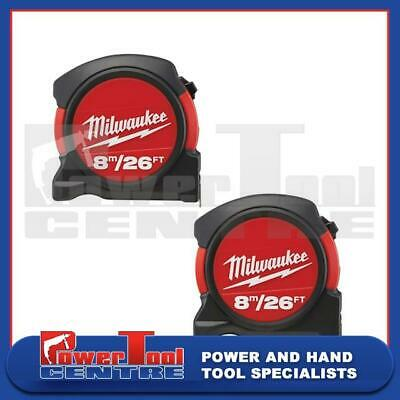 2 x Milwaukee 48225625 Contractor Measuring Tape Measure 8m / 26ft Width 27mm