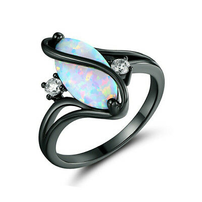 3.6Ct White Fire Opal CZ 925 Silver Plated Black Wedding Party Ring Size 6-10