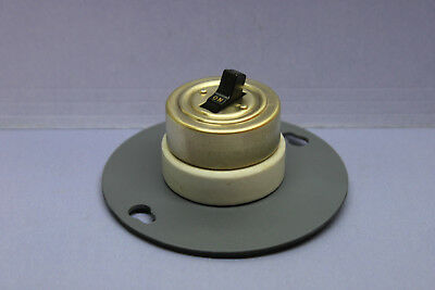 "Vintage H&H Brass/Porcelain Round Toggle Light Switch /Plate for 4"" Junction Box"