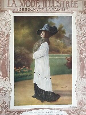 French MODE ILLUSTREE Sewing patterns -tracings- Oct 9 & 16,1910- Evening dress