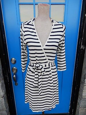 NEW Duffield Lane Sz Small Rapp Hooded Robe Wrap Navy Blue Cream Stripe Short