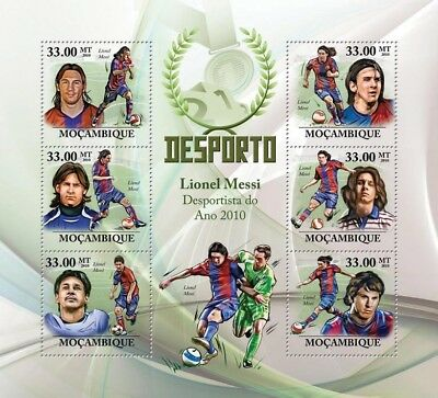 LIONEL MESSI Footballer (BARCELONA) Football Stamp Sheet (2010 Mozambique)