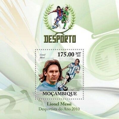 LIONEL MESSI Footballer (ARGENTINA) Football Stamp Sheet (2010 Mozambique)