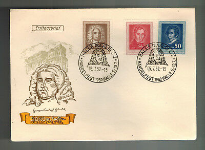 1952 Halle East Germany DDR First Day Cover FDC # 100 to 102 Complete Set